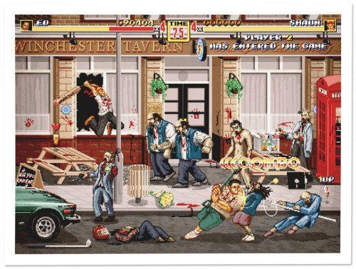 Shaun of the dead (Zombies Party) en formato beat'em up. Por Aled Lewis